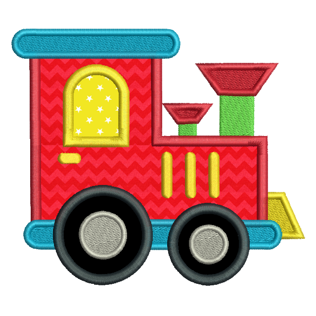 Toy train applique machine embroidery design by rosiedayembroidery.com