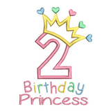 2nd birthday princess crown applique machine embroidery design by rosiedayembroidery.com