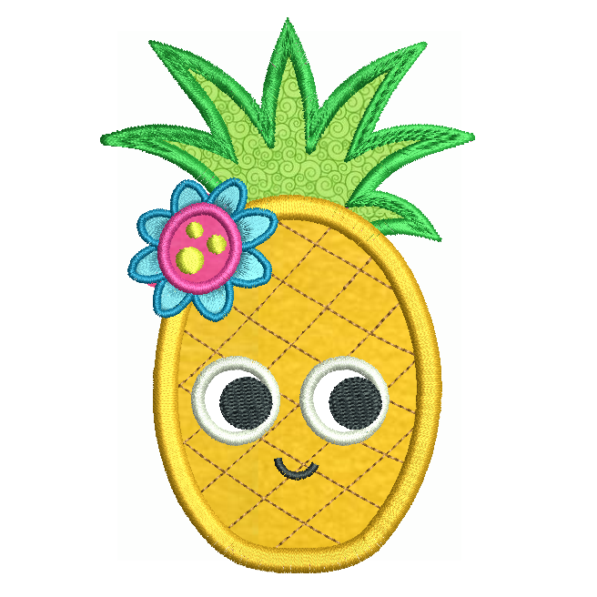 Pineapple applique machine embroidery design by rosiedayembroidery.com