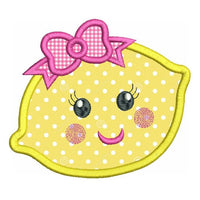 Cute lemon applique machine embroidery design by rosiedayembroidery.com