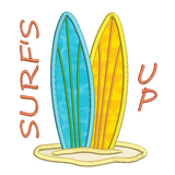 Surfboards applique machine embroidery design by rosiedayembroidery.com