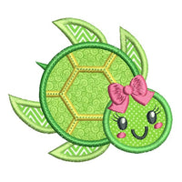 Cute girl turtle applique machine embroidery design by rosiedayembroidery.com