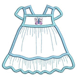Baby girl's dress applique machine embroidery design by rosiedayembroidery.com
