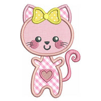 Kawaii kitten applique machine embroidery design by rosiedayembroidery.com