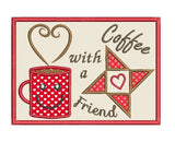 Coffee mug rug applique machine embroidery design by rosiedayembroidery.com