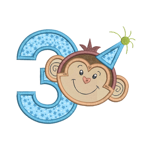 3rd birthday monkey applique machine embroidery design by rosiedayembroidery.com