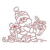 Christmas Santa - redwork machine embroidery design by embroiderytree.com