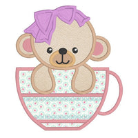Teddy bear in a cup applique machine embroidery design by rosiedayembroidery.com