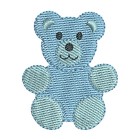 Mini teddy bear fill stitch machine embroidery design by rosiedayembroidery.com