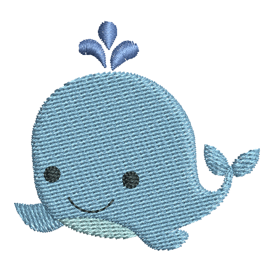 Mini fill stitch whale machine embroidery design by rosiedayembroidery.com