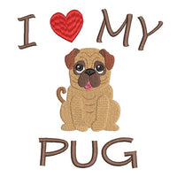 Pug machine embroidery design by rosiedayembroidery.com