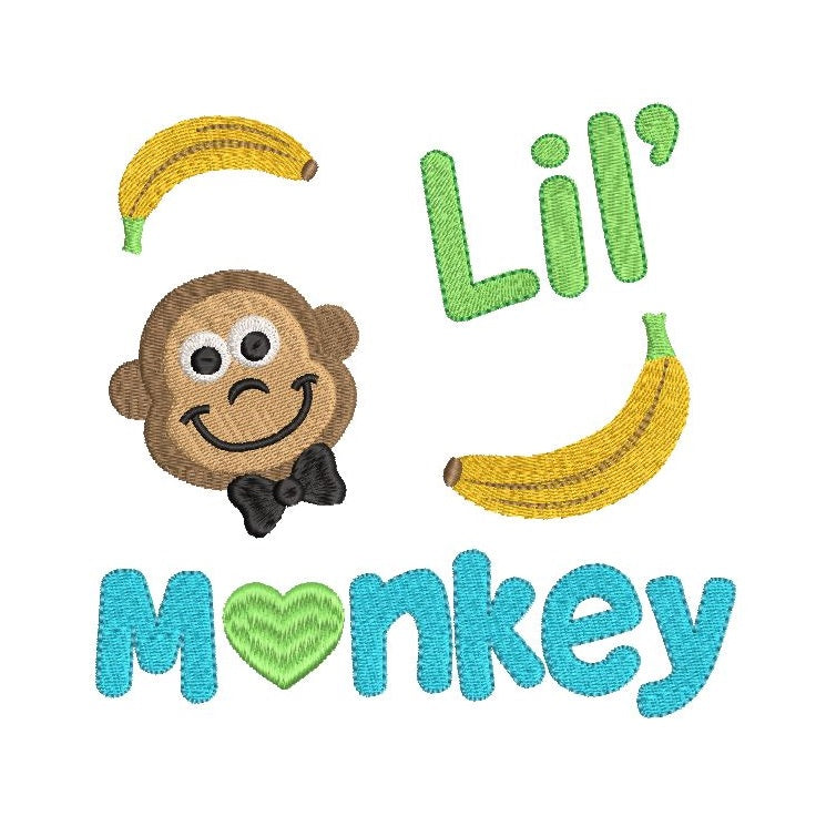 Little monkey fill stitch machine embroidery design by rosiedayembroidery.com
