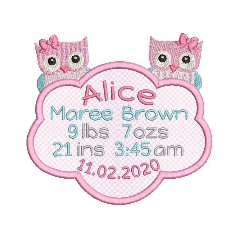 Baby birth stats template applique machine embroidery design by rosiedayembroidery.com