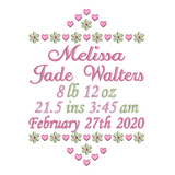 Baby birth stats announcement machine embroidery design by rosiedayembroidery.com