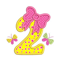 Girl's 2nd birthday applique machine embroidery design by rosiedayembroidery.com