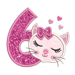 Girl's 6th birthday kitty applique machine embroidery design by rosiedayembroidery.com