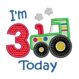 Boy's 3rd birthday - applique tractor machine embroidery design by rosiedayembroidery.com