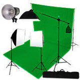 3 Head 3000W Quartz Video Light Equipment with Chromakey Backdrop & Support System Kit