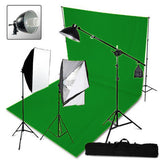3 Head Softbox Hair Light Studio Kit Equipment With Chromakey Backdrop
