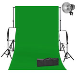 2 Head 2000W Quartz Video Lighting Equipment with Chromakey Backdrop & Support System Kit