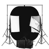 Black and White Reversible Photography Backdrop Screen With 50 x 70 Economy Softbox Studio Lighting Equipment