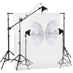 750W Continuous Light Kit Equipment With White/Black Photo Muslin Backdrops