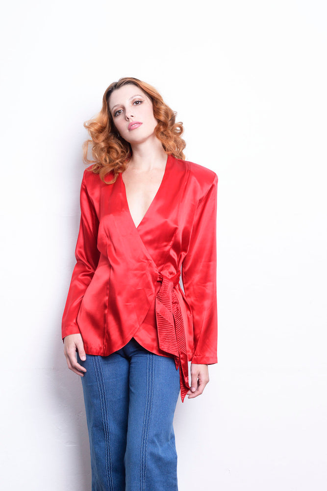 Vintage Wrap Red Satin Blouse 80s - Loversvintage