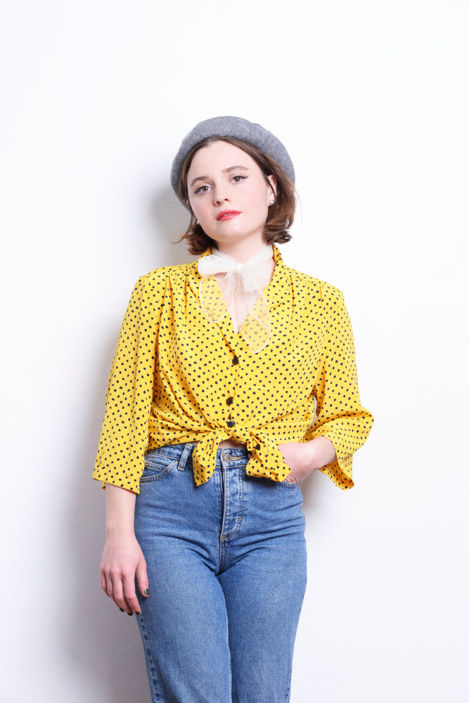 Load image into Gallery viewer, Vintage 80s Dotted Blouse - Loversvintage