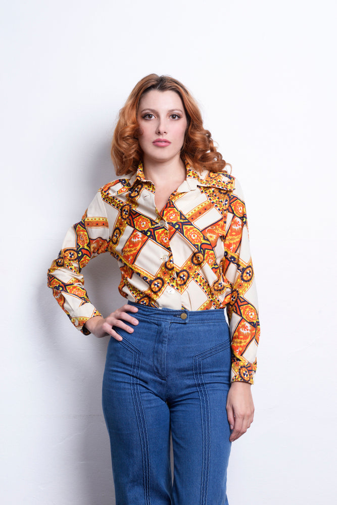 70s Vintage Long Sleeve Blouse - Loversvintage