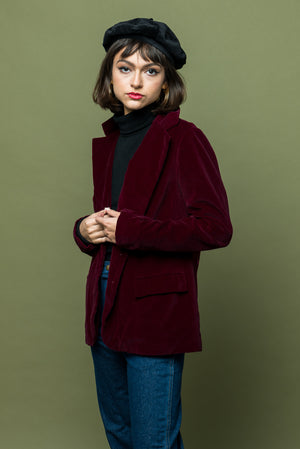 Burgundy Room Library Velvet Jacket - Loversvintage