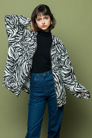 Zebra Print Eighties Nineties Fringed Jacket one of kind