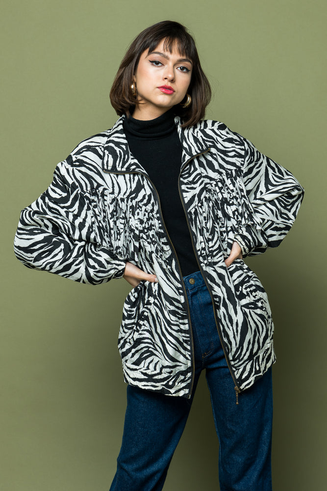 Load image into Gallery viewer, Zebra Print Eighties Nineties Fringed Jacket one of kind - Loversvintage