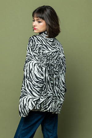 Zebra Print Eighties Nineties Fringed Jacket one of kind - Loversvintage