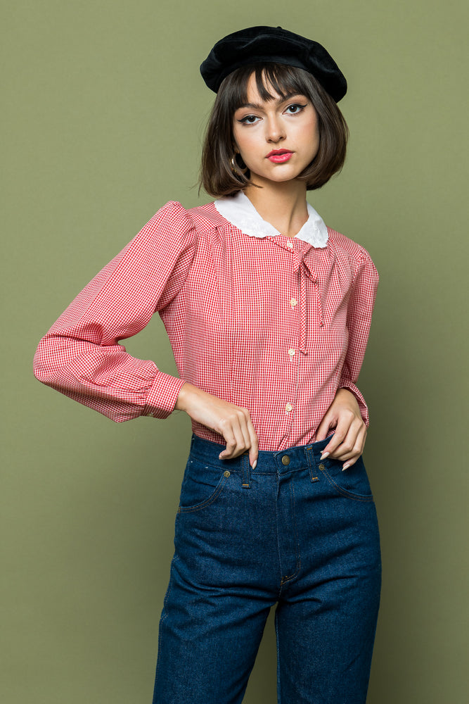 Holiday Gingham Blouse - Loversvintage