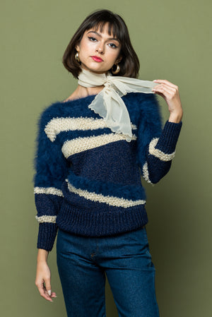 Vintage 1950s Angora sweater pullover navy and white