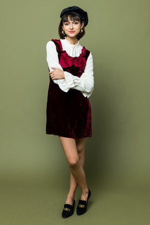 Velvet Jumper Dress with Bow