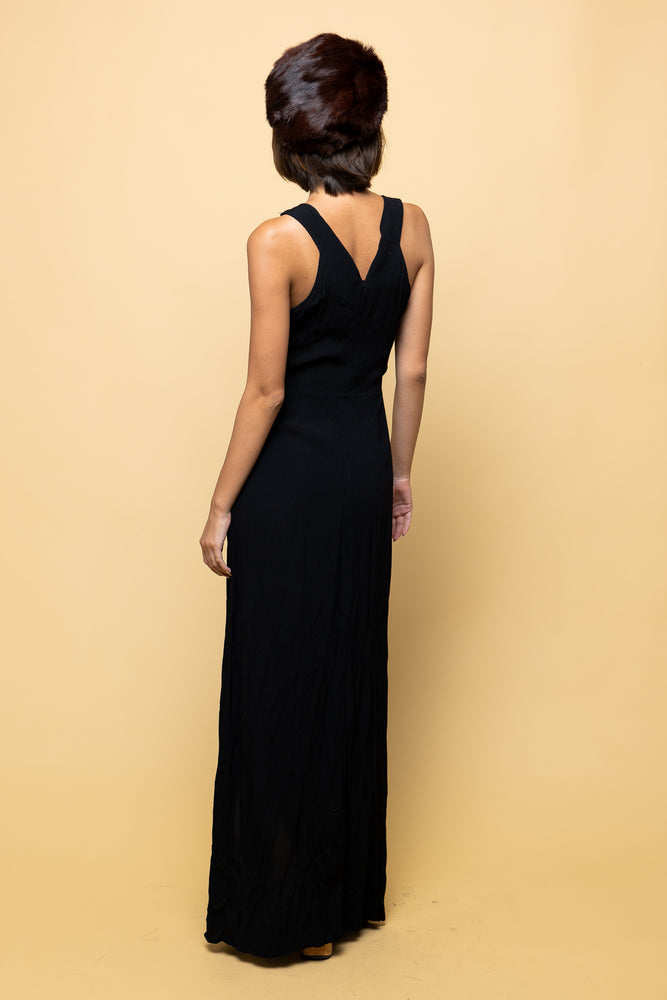Black Slinky Maxi Dress - Lovers Vintage