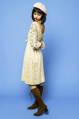Floral Lace Cream Midi Dress - Loversvintage