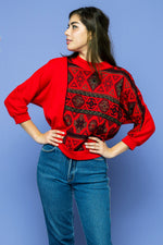 Red Navajo Sweater - Lovers Vintage
