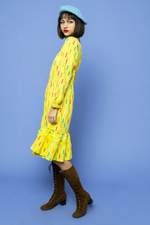 Load image into Gallery viewer, Yellow Lemon Drop Confetti Dress - Lovers Vintage