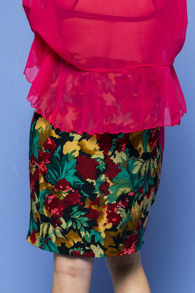 Load image into Gallery viewer, Vintage Floral Power Wrap Skirt - Loversvintage