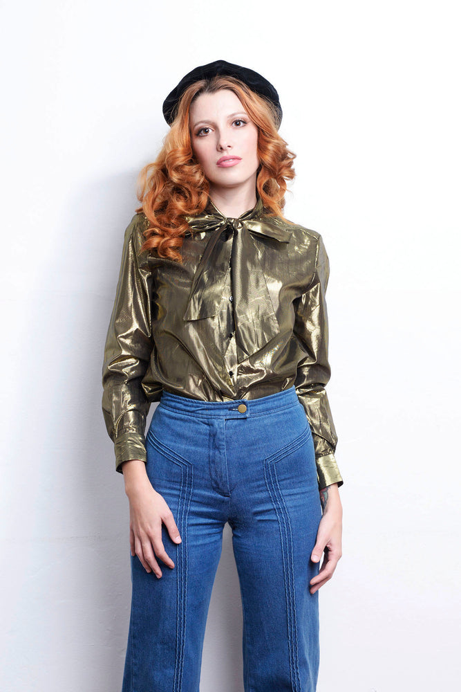 70s Lurex Golden Pussy Bow Long Sleeve Shirt Disco - Loversvintage