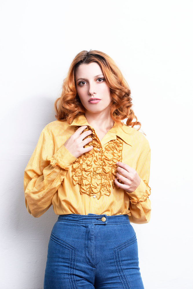 Vintage Long Sleeve Yellow Ruffled Tuxedo Blouse - Loversvintage