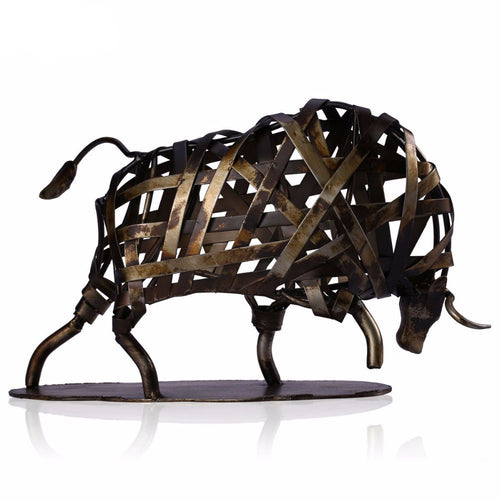 Braided Charging Bull Steampunk Sculpture