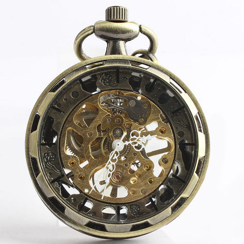 Bronze Skeleton Key Steampunk Pocket Watch