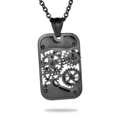 Dog Tag Gears Steampunk Necklace