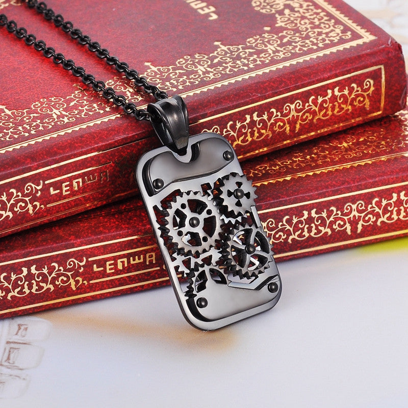 Dog Tag Gears Steampunk Necklace - Steampunk Authority