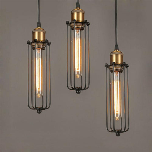 Elongated  Loft Iron Pendant Steampunk Lamp