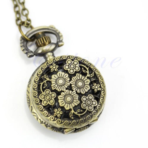 Chic Flower Hollow Steampunk Pocket Watch