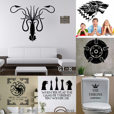 13 style Multi-Size Stark Vinyl Decal Game of Thrones Sticker Fashion TV Poster Wall Stickers living Room Home Decoration Free S